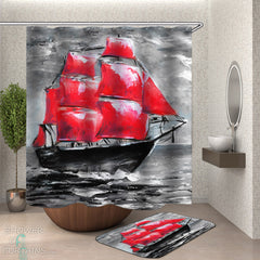 black-and-red-art-painting-ship-shower-curtain