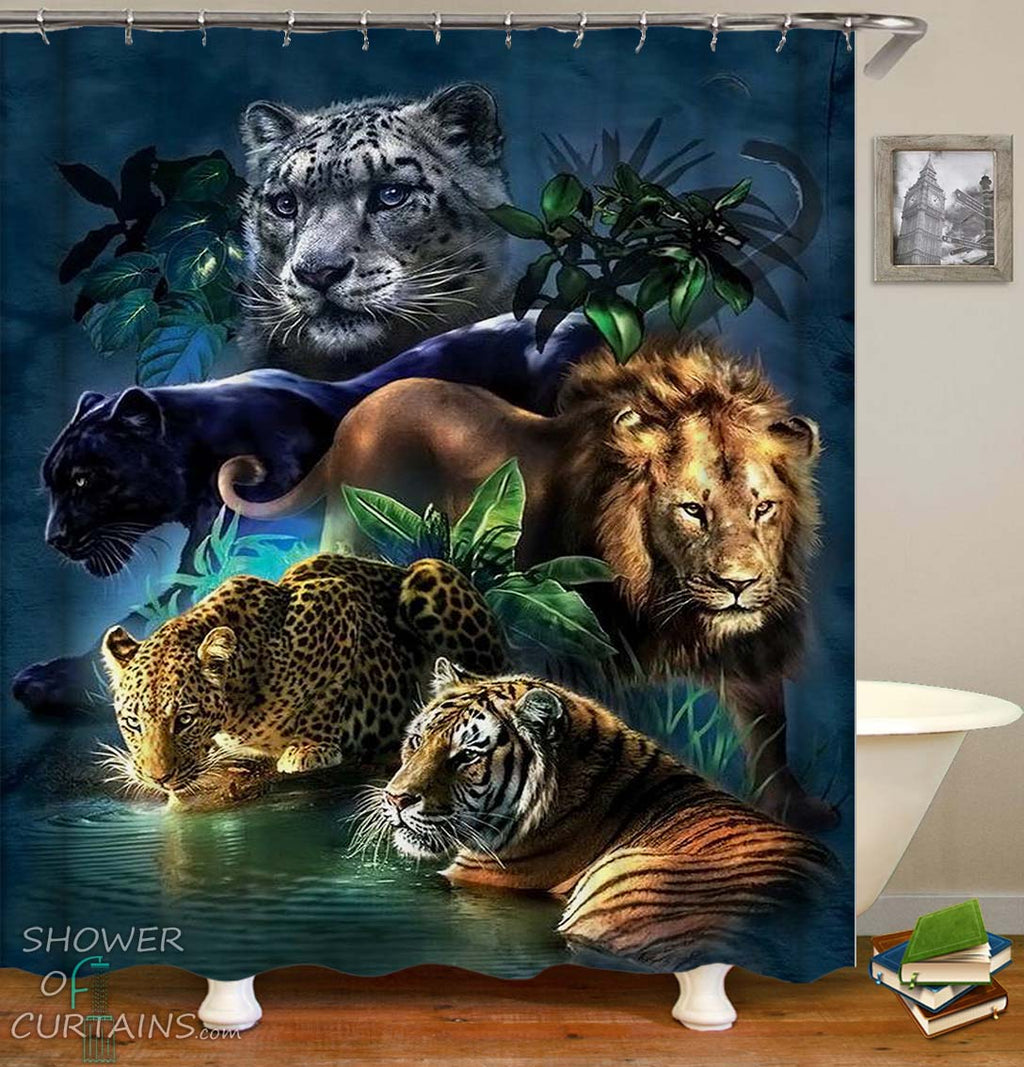 Shower Curtain of the Five Big Cats