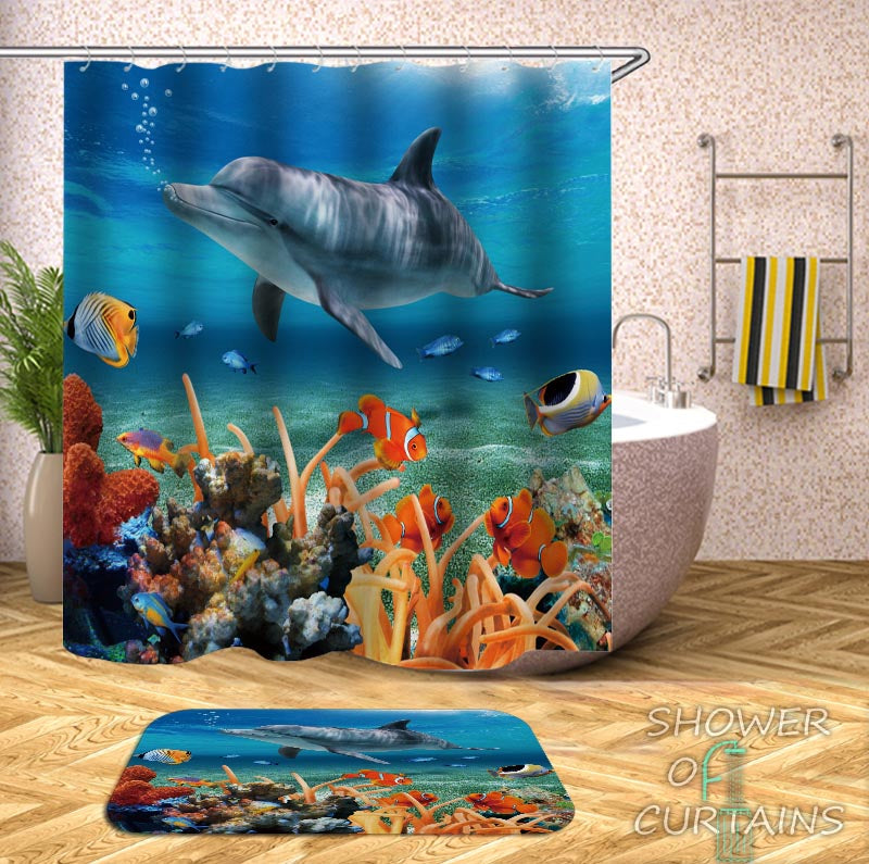 Shower Curtains Dolphin