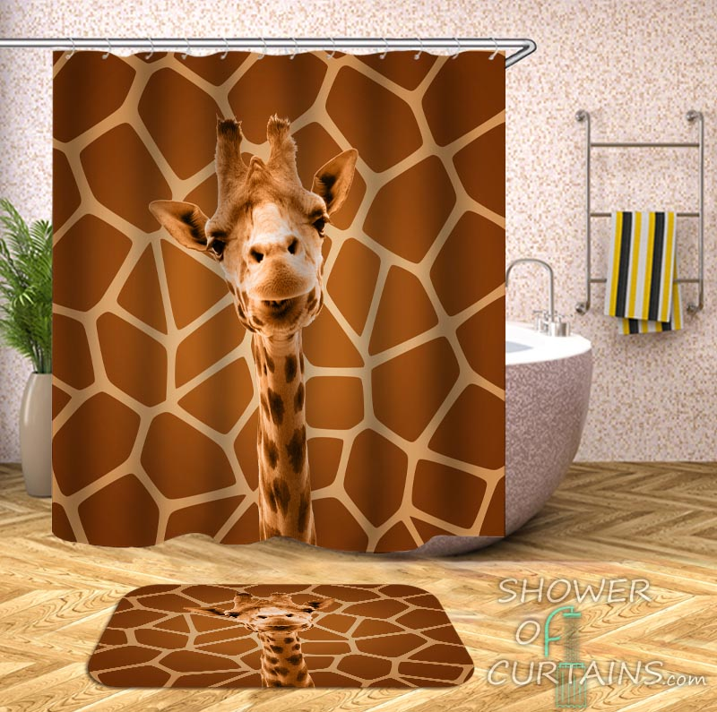 Shower Curtains of Giraffe and Giraffe's Skin