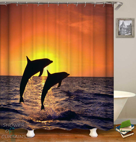 Shower Curtains of Sunset Dolphins