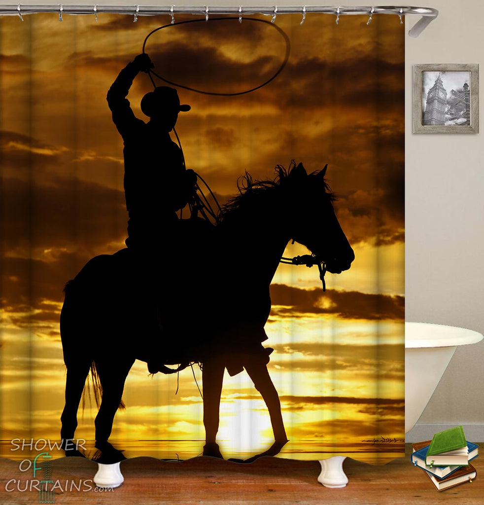 Shower Curtains of the Sunset Cowboy