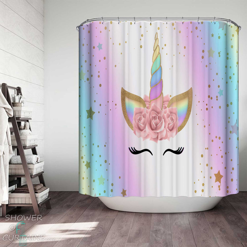Shower Curtains with Adorable Unicorn Face