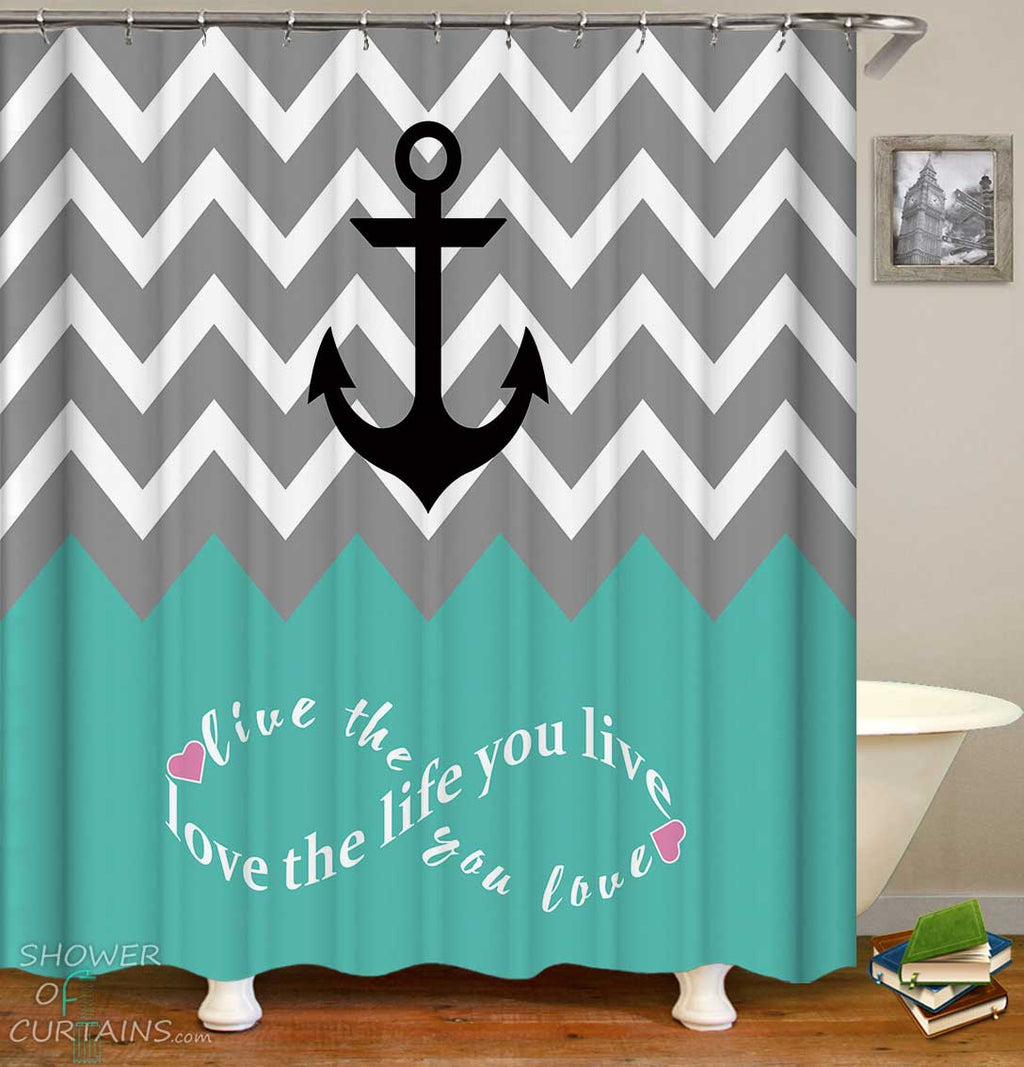 Shower Curtains with Anchor Inspirational Quote