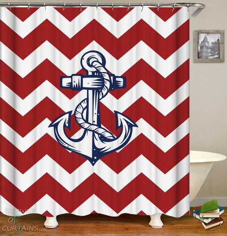 Shower Curtains with Anchor Red Chevron