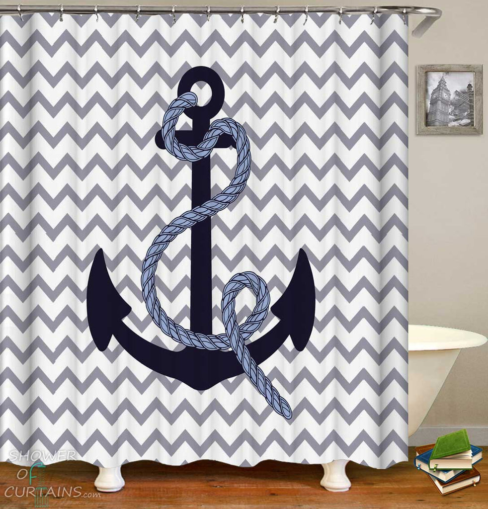 Shower Curtains with Anchor and Rope Over Chevron
