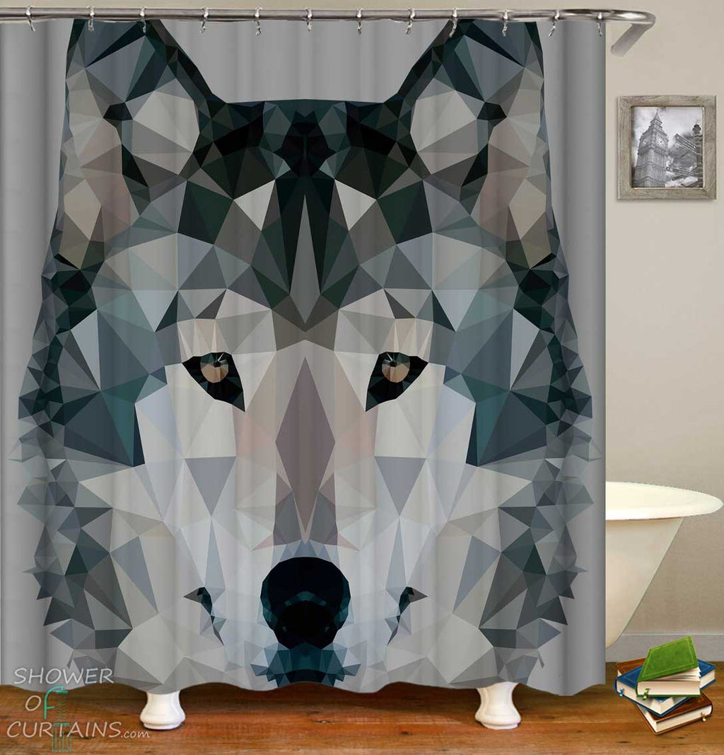 Shower Curtains with Artistic Wolf