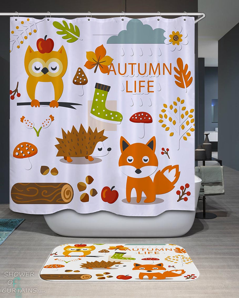 Shower Curtains with Autumn Animals