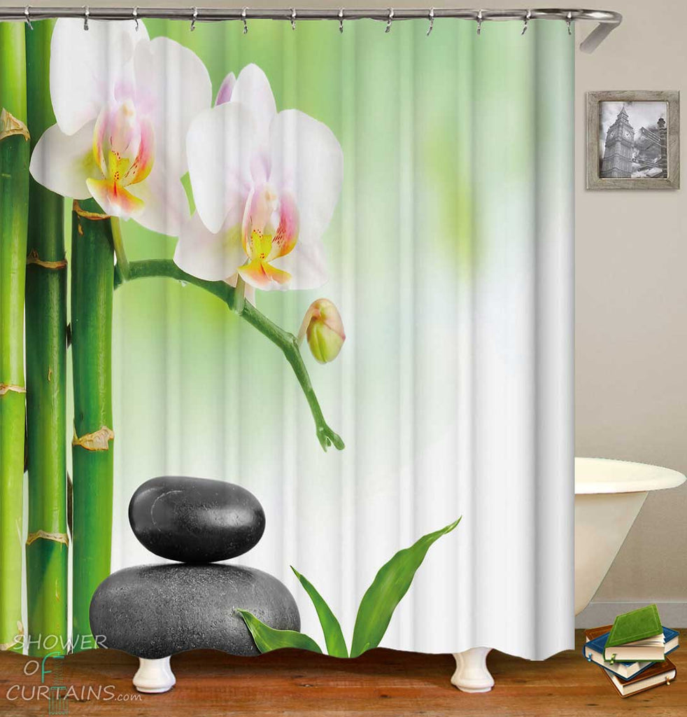 Shower Curtains with Bamboo Pebbles and Flowers