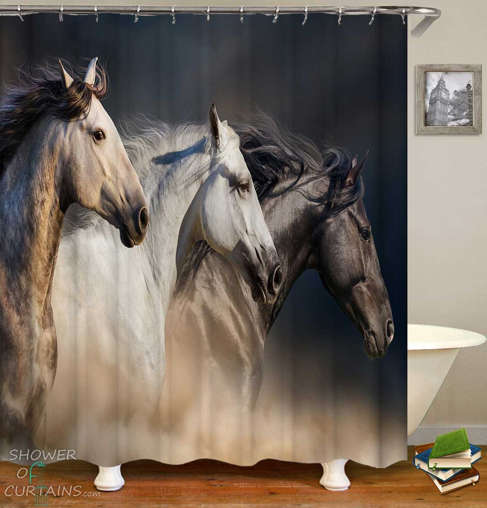 Shower Curtains with Beautiful Horses
