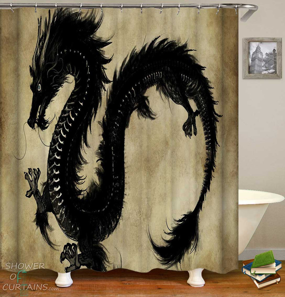 Shower Curtains with Black Chinese Dragon