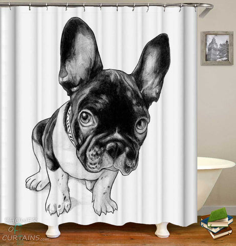 Shower Curtains with Black and White French Bulldog Dog