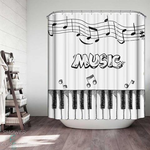 Shower Curtains with Black and White Music