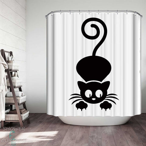 Shower Curtains with Black and White Suspicious Cat