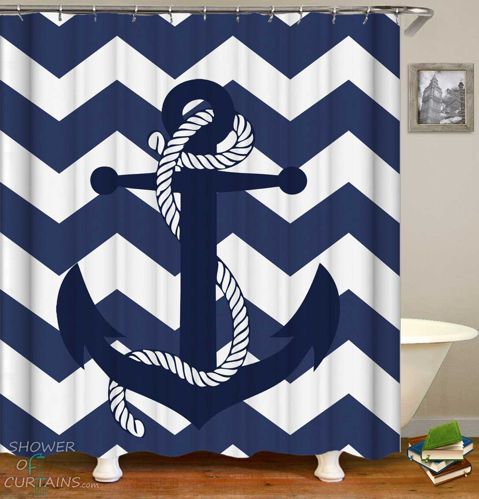 Shower Curtains with Blue Anchor and Chevron