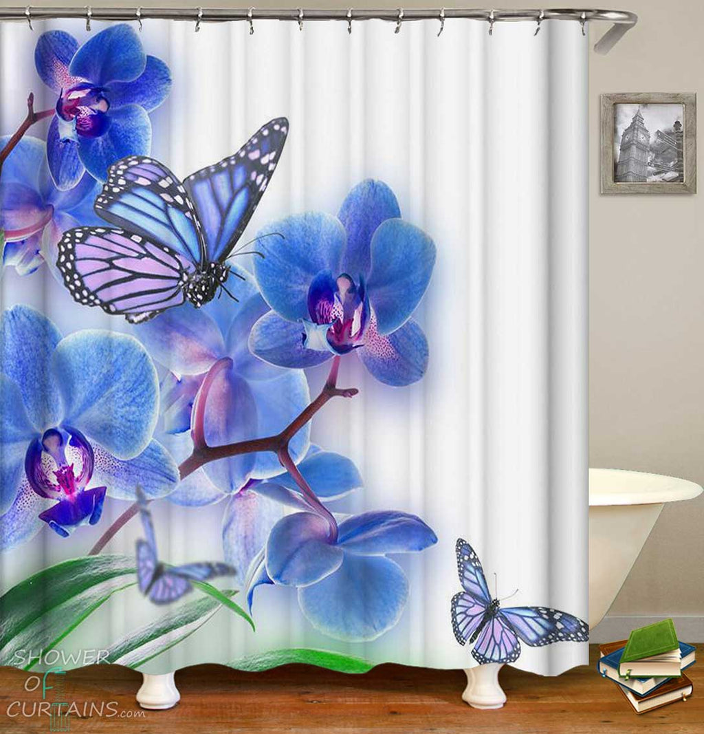 Shower Curtains with Blue Orchid Flowers and Butterflies