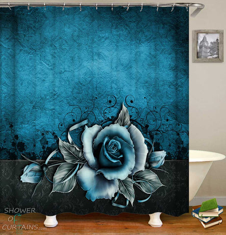 Shower Curtains with Blue Rose