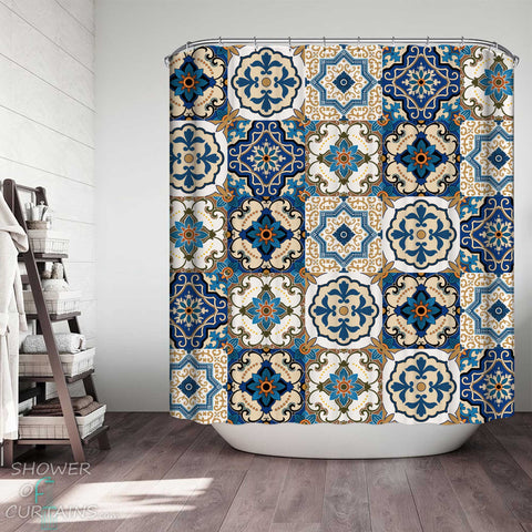 Shower Curtains with Blue Tiles Moroccan Design
