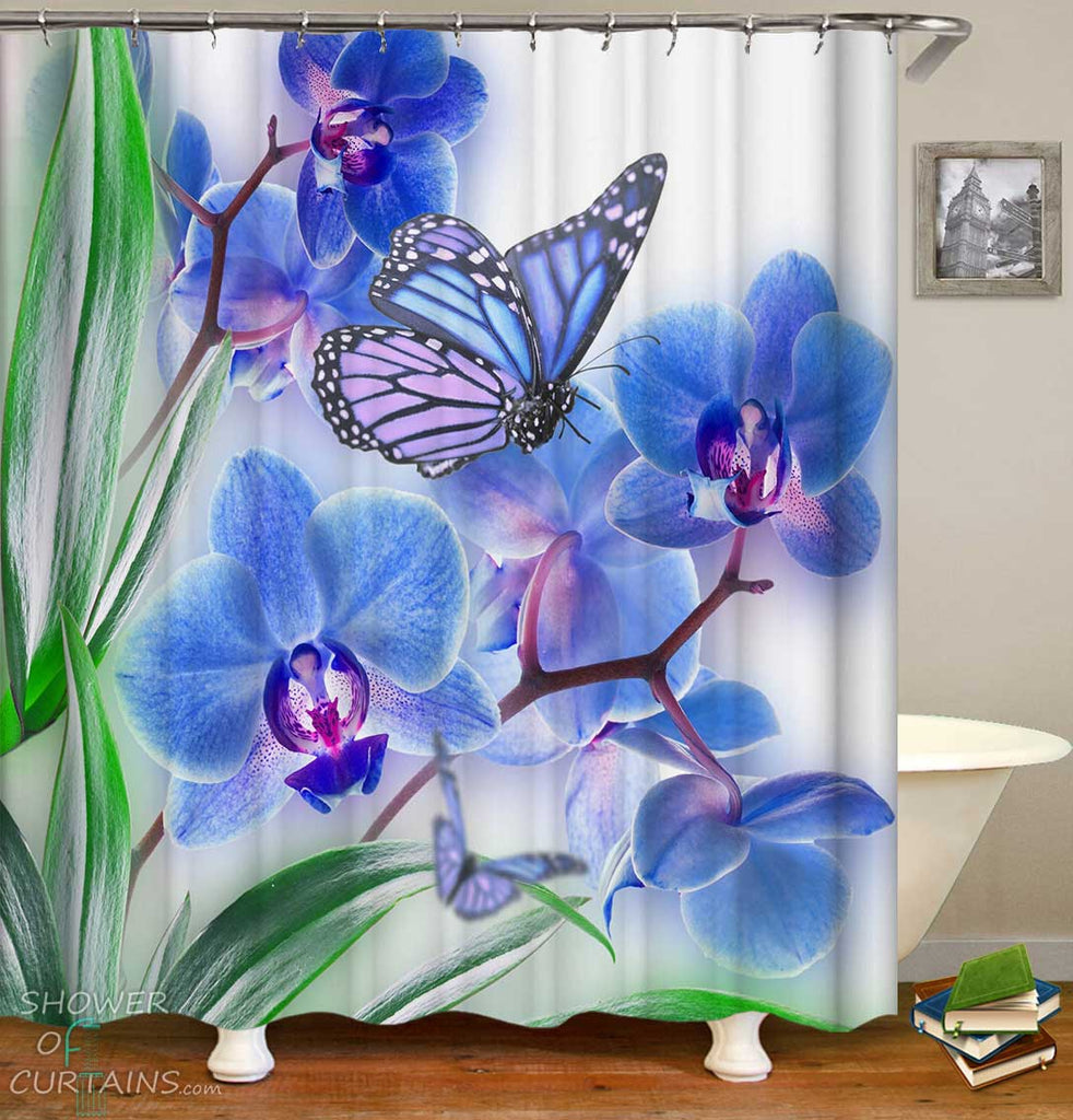 Shower Curtains with Bluish Floral and Butterfly