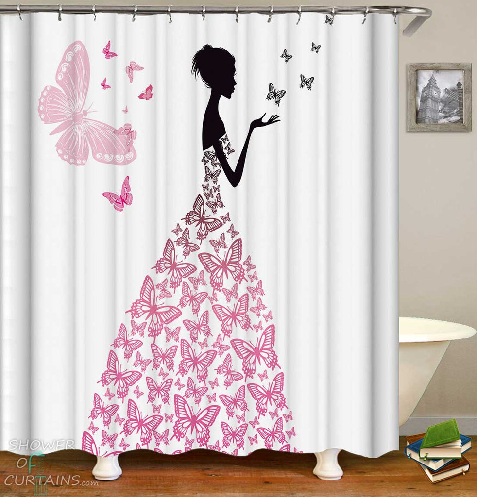 Shower Curtains with Butterflies Dress