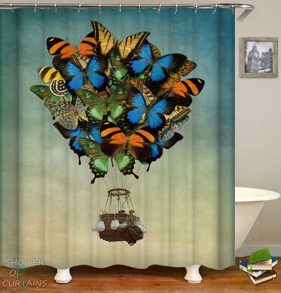 Shower Curtains with Butterflies Hot Air Balloon
