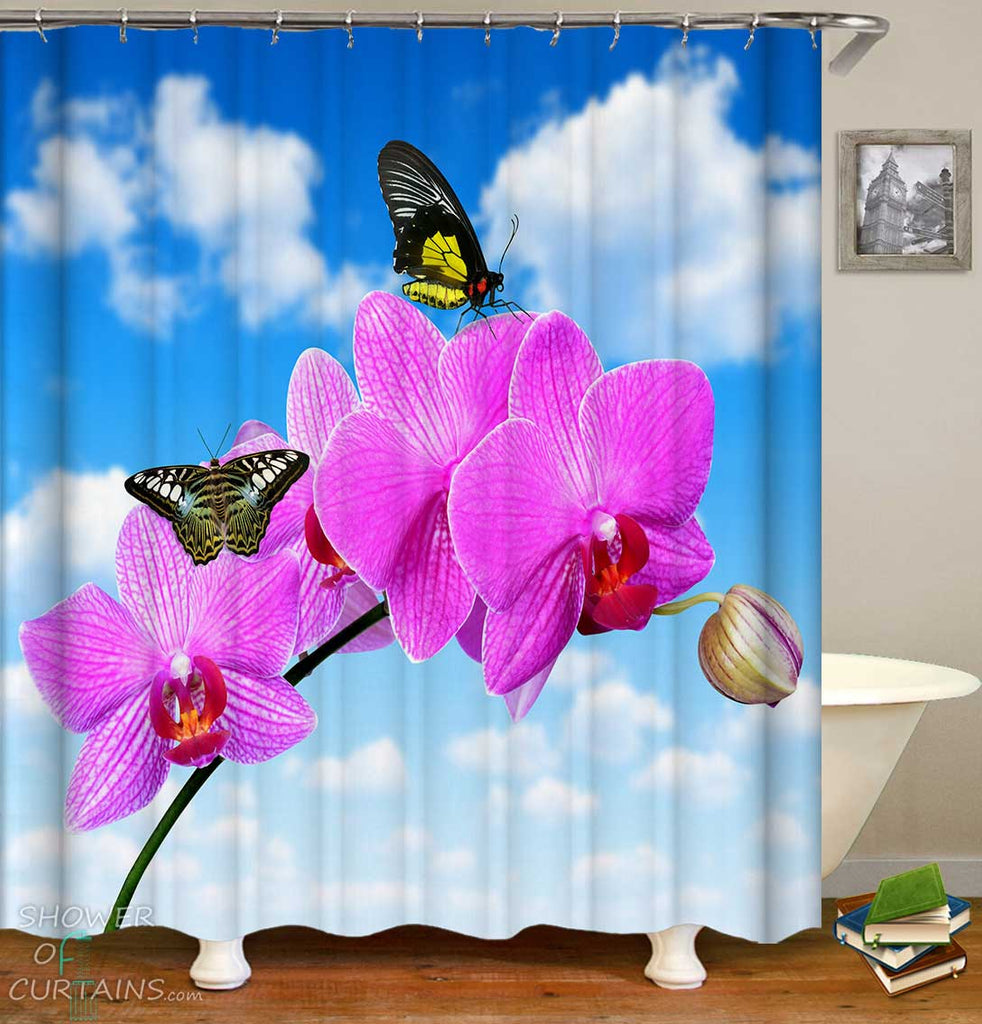 Shower Curtains with Butterflies Pink Flowers Over Blue Sky