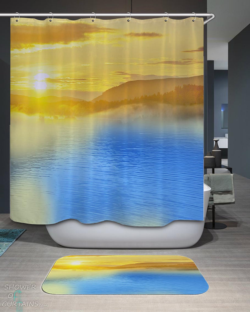 Shower Curtains with Calm Lake at Sunset