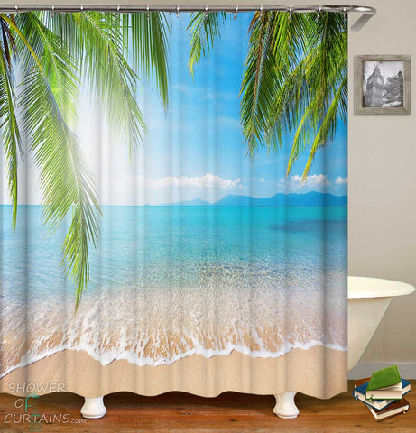 Shower Curtains with Calm Ocean Beach