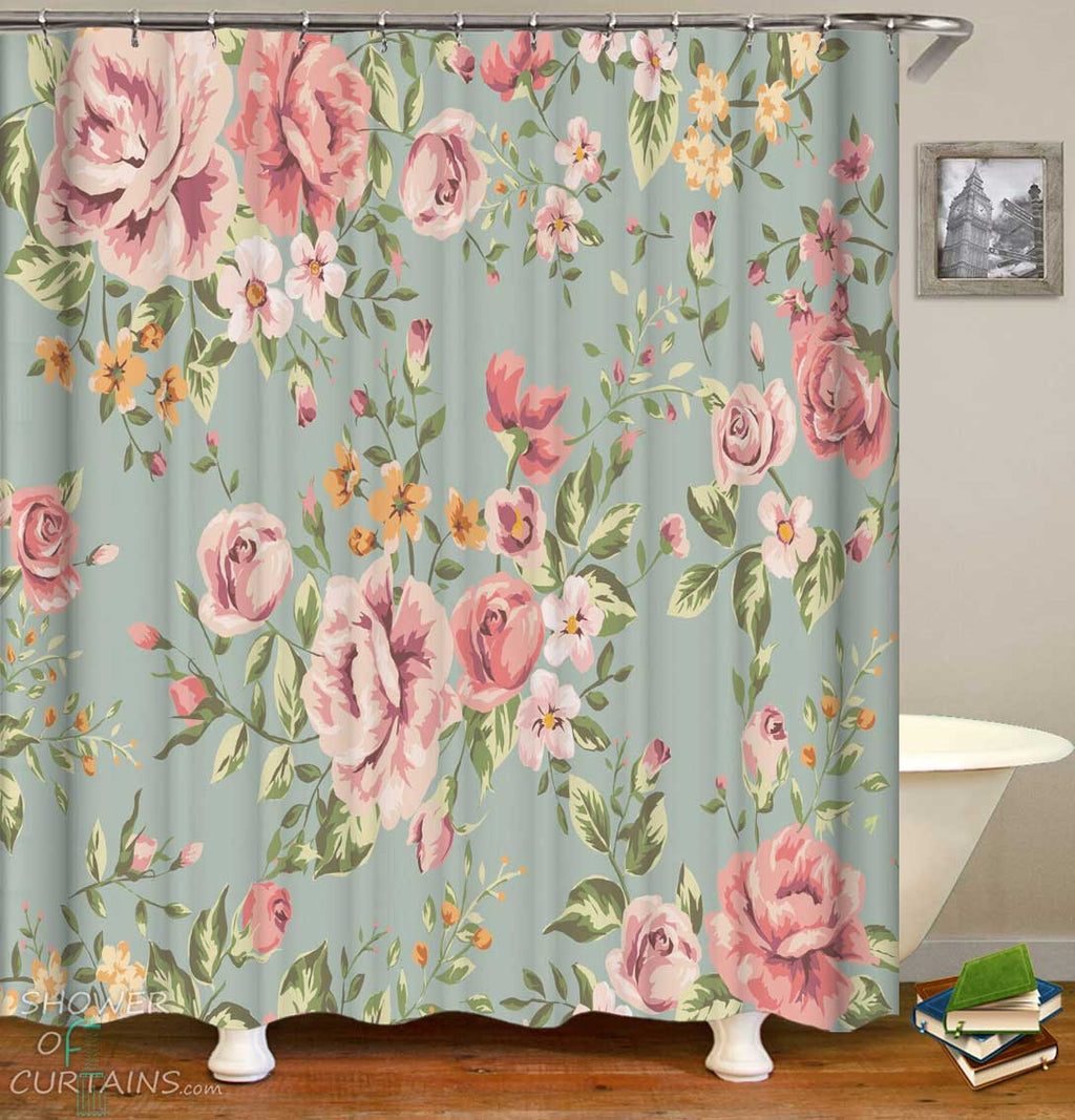Shower Curtains with Classic Floral Pattern