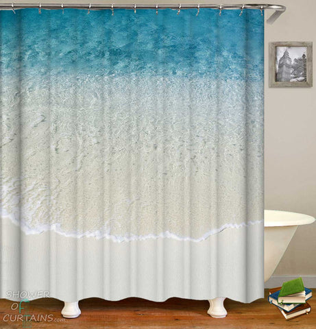 Shower Curtains with Clear Ocean and White Sand Beach