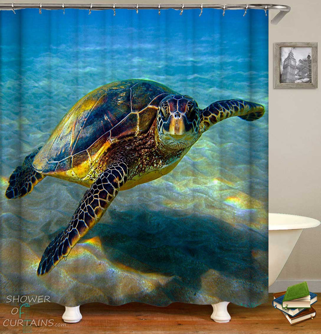 Shower Curtains with Clear Water Turtle