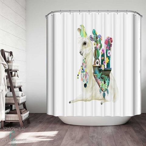 Shower Curtains with Colorful Festive Llama