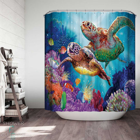 Shower Curtains with Colorful Turtles and Corals