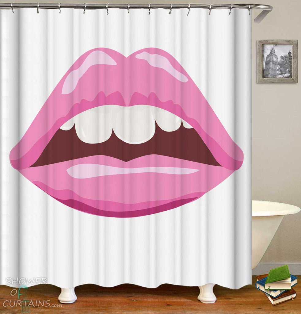 Shower Curtains with Cool Sexy Bubble Gum Lips