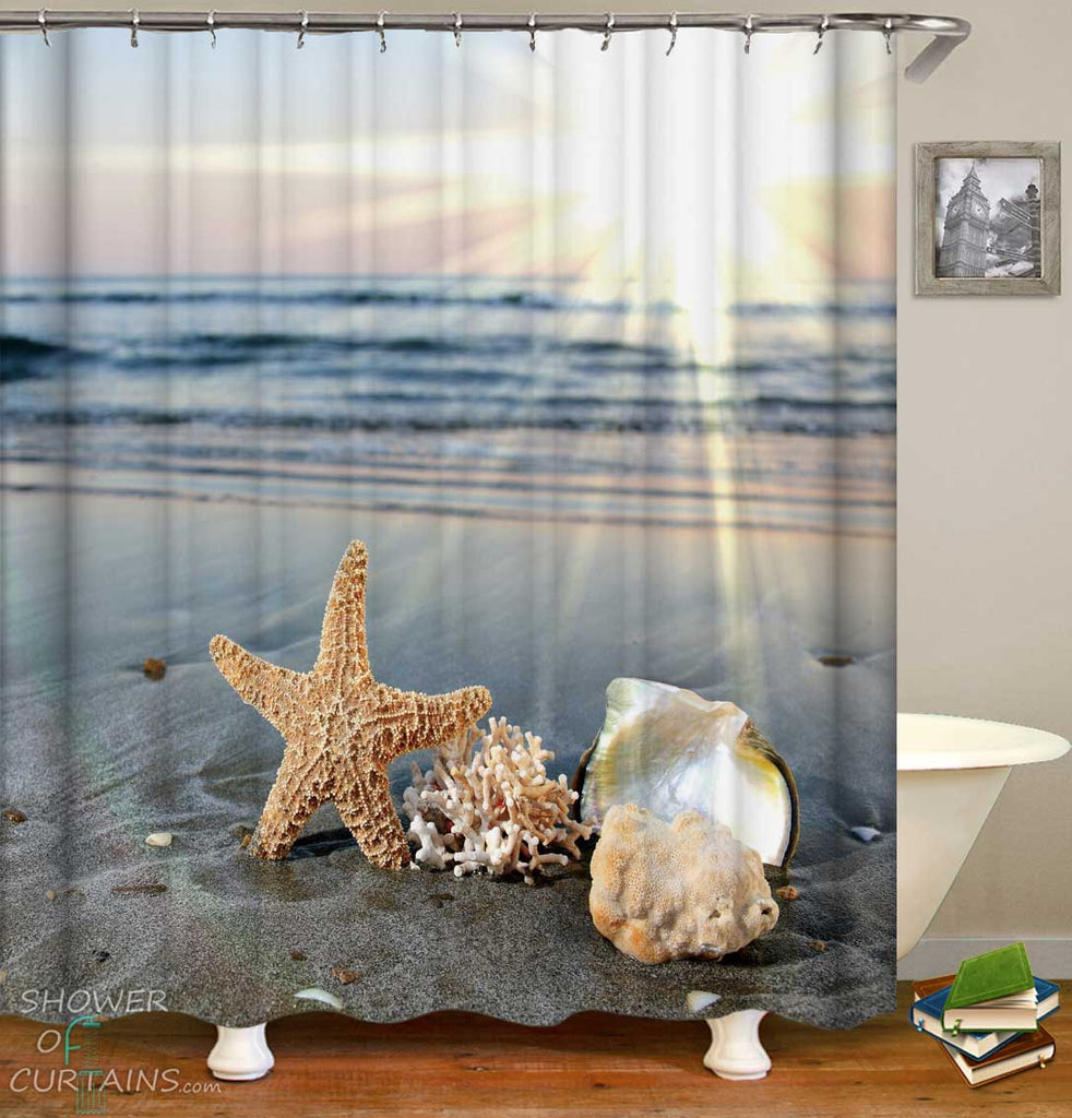 Shower Curtains with Coral Starfish and Calm on the Beach