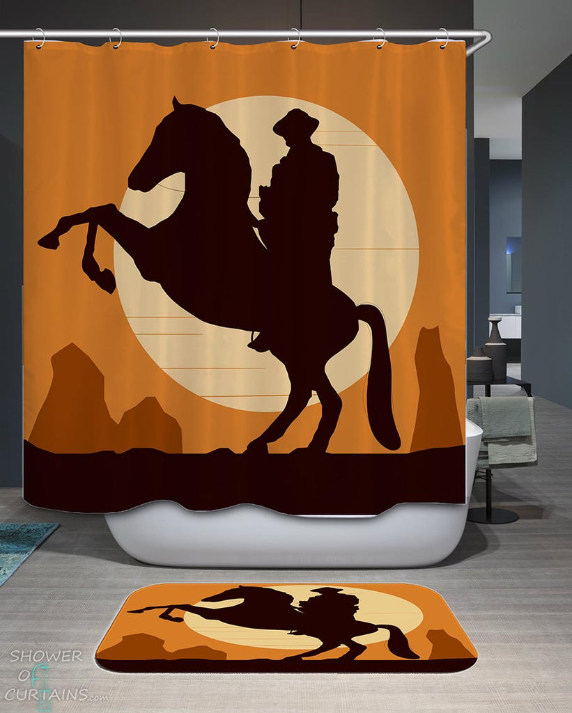 Shower Curtains with Cowboy at Sunset