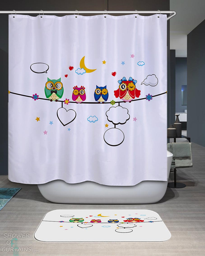 Shower Curtains with Cute Owl Family