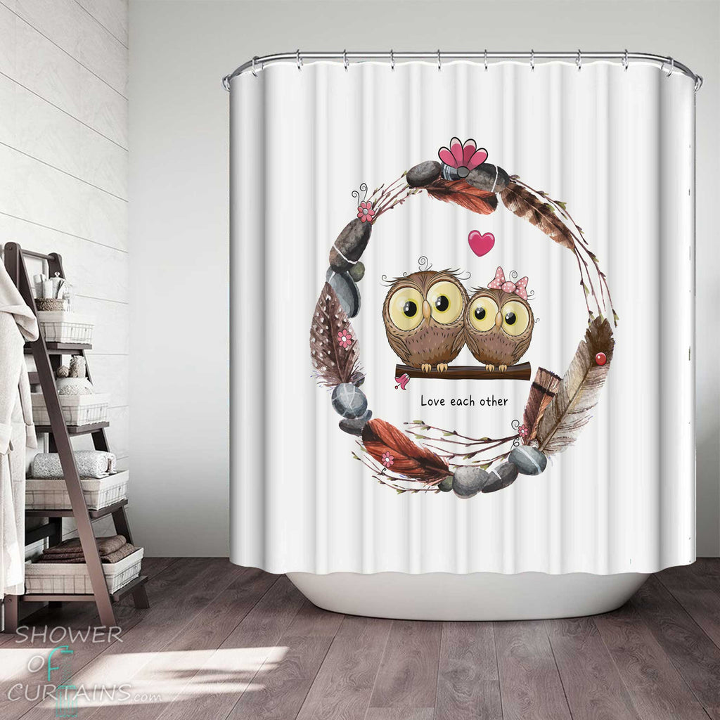 Shower Curtains with Cute Owls in Love