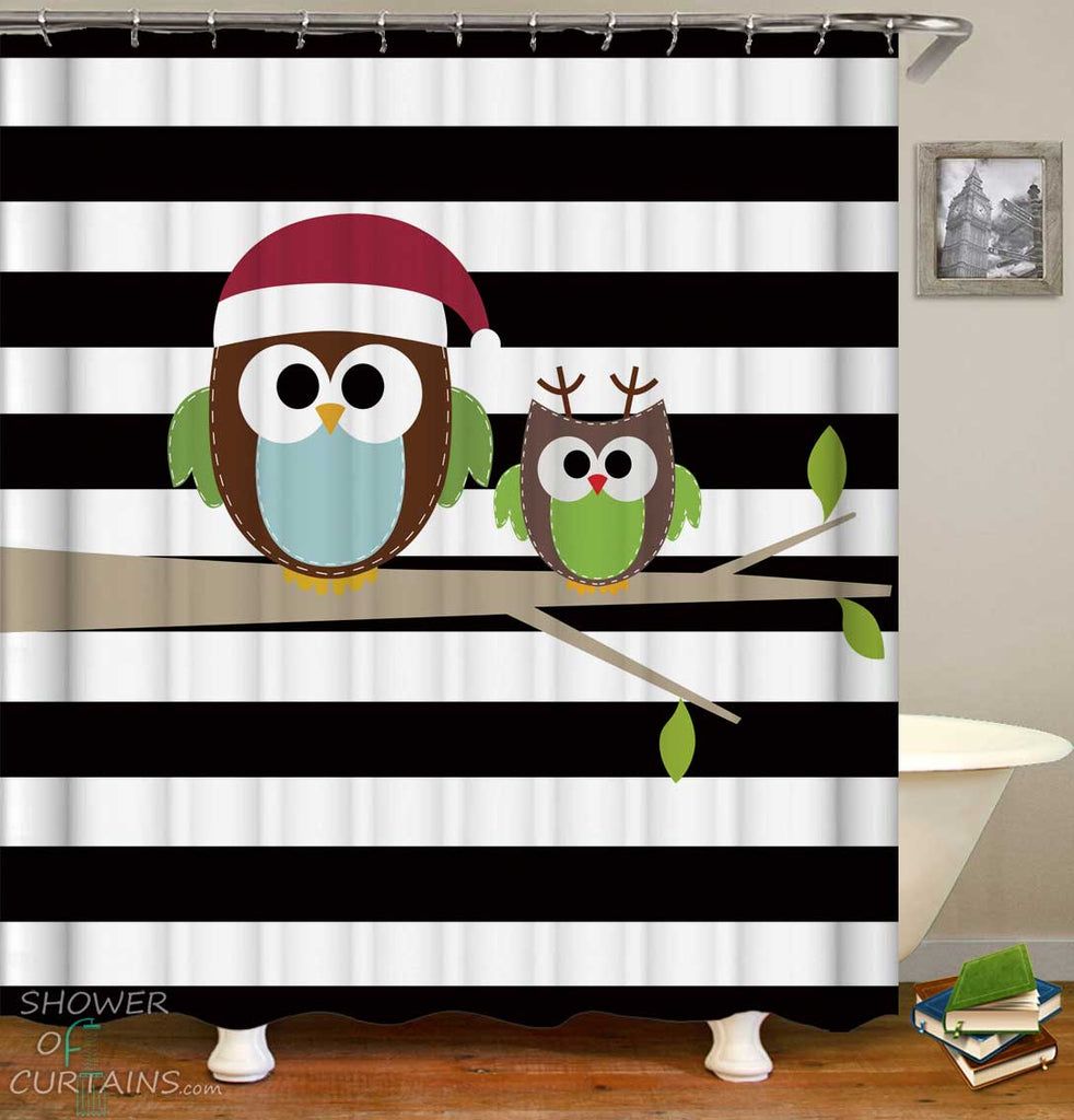 Shower Curtains with Cute Owls over Black and White Stripes