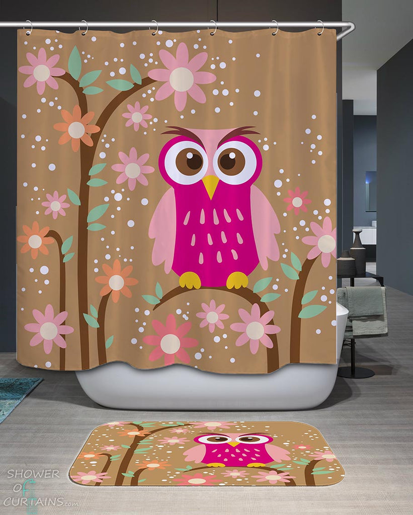 Shower Curtains with Cute Purple Owl