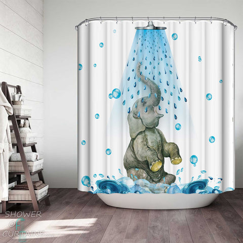 Shower Curtains with Cute Showering Elephant