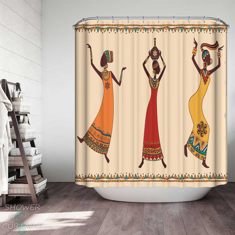 Shower Curtains with Dancing African Women