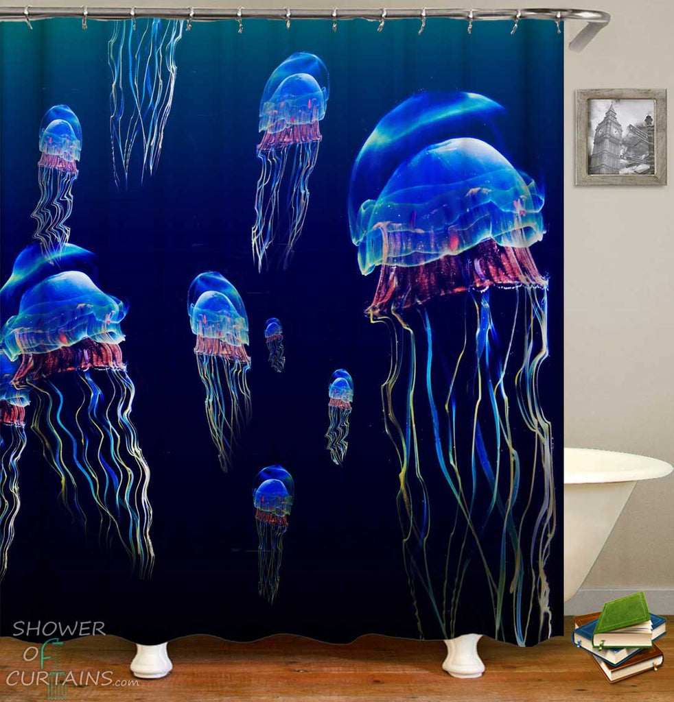 Shower Curtains with Deep Ocean Jellyfish