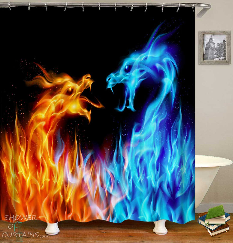 Shower Curtains with Flames Dragons
