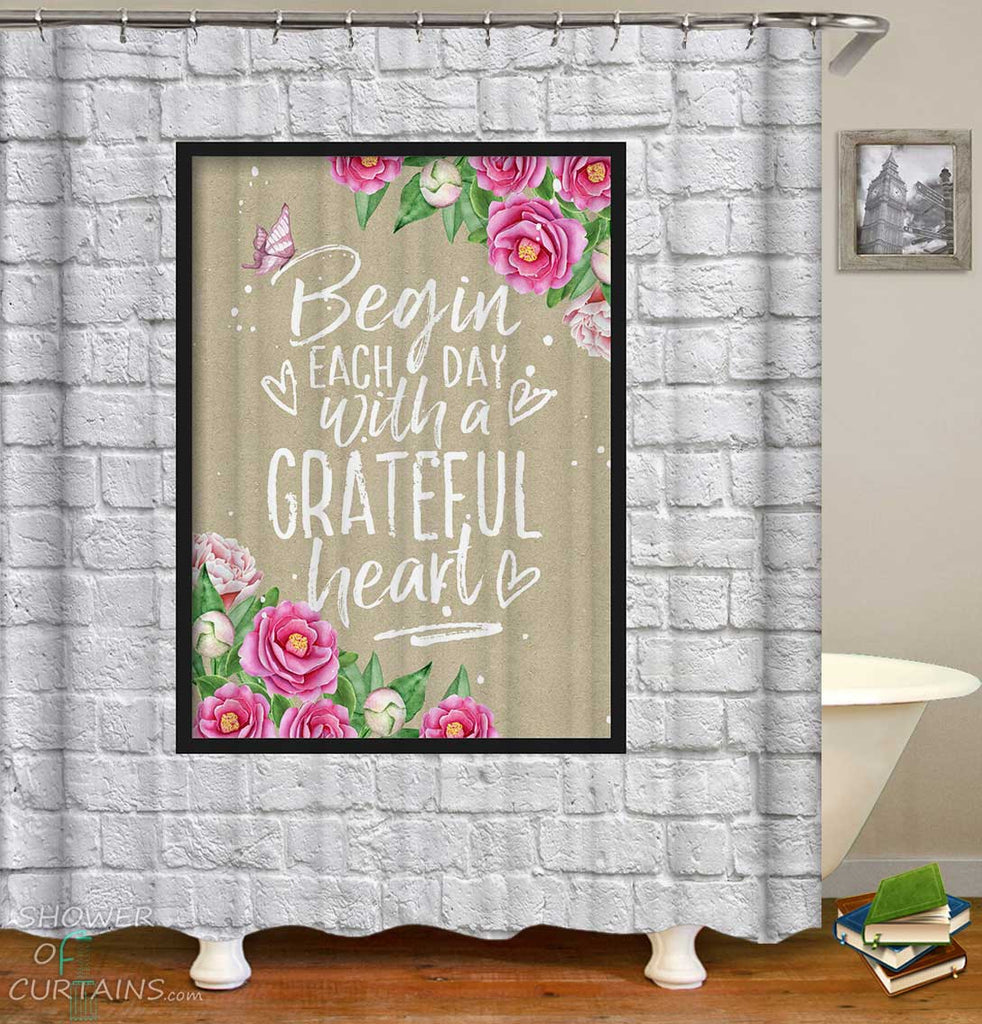 Shower Curtains with Floral Inspirational Quote