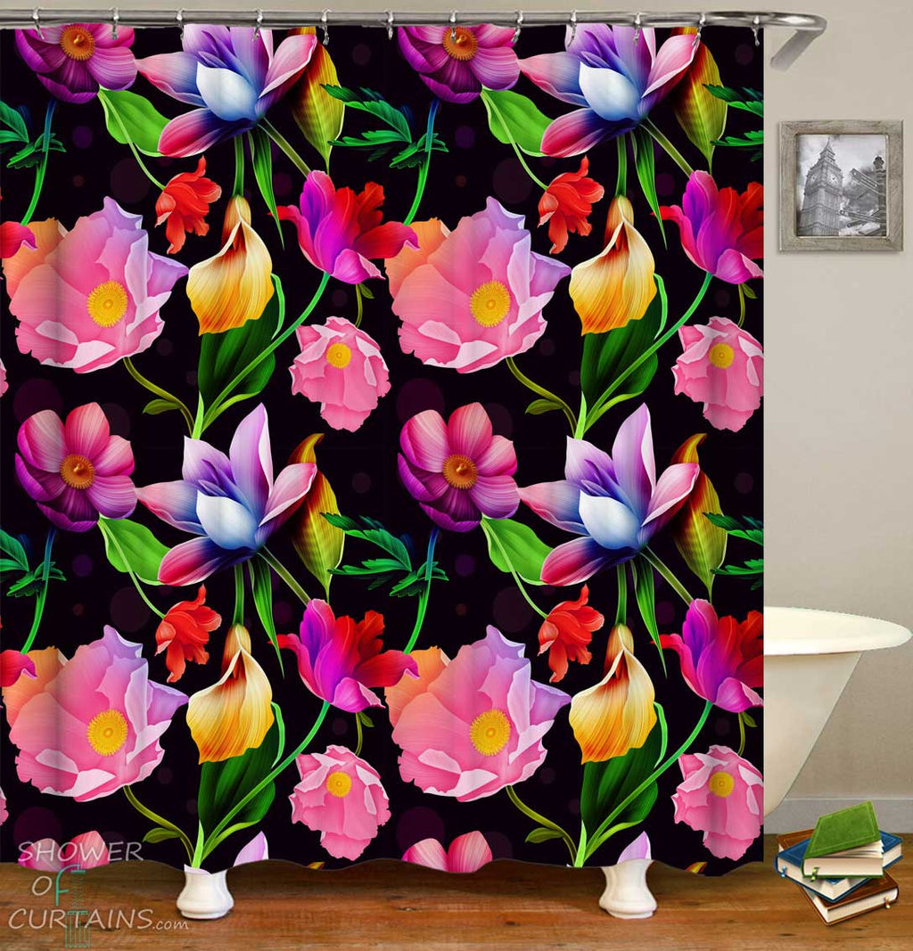 Shower Curtains with Floral Revival over Black