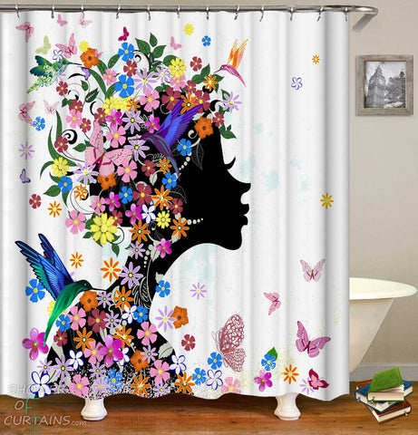 Shower Curtains with Flower Girl