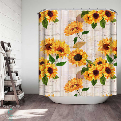 Shower Curtains with French Sunflowers