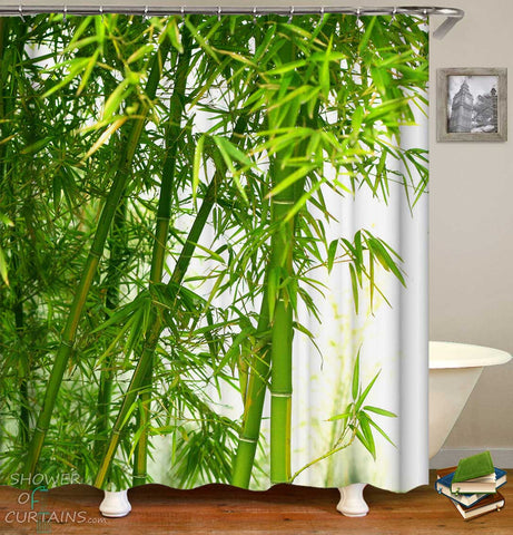 Shower Curtains with Fresh Green Bamboo
