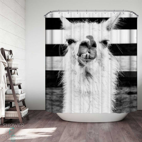 Shower Curtains with Funny Black and White Alpaca